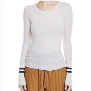 Vince Wool Stripe Sleeve Pullover Sweater White